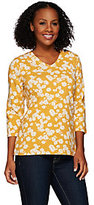 As Is Denim & Co. Floral Printed 3/4 Sleeve V-neck Top