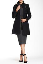 Via Spiga PU Trim Zip Front Wool Blend Coat