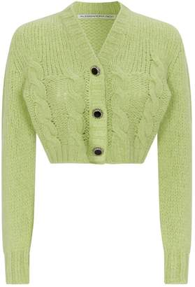 Alessandra Rich Wool Chain Button Cropped Cardigan
