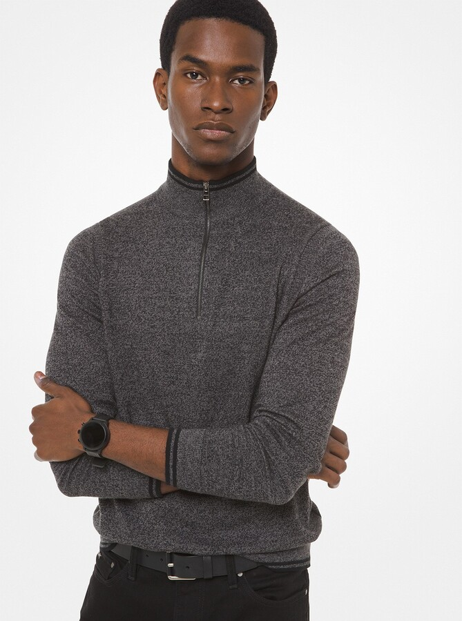 Michael Kors Cotton Blend Quarter-Zip Sweater