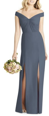 Social Bridesmaids Off the Shoulder Chiffon A-Line Gown