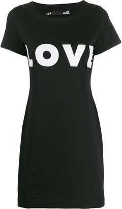 Love Moschino love-print stretch-jersey mini dress