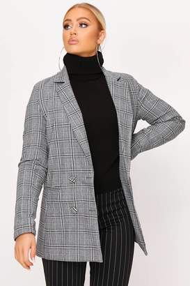 I SAW IT FIRST Grey Check Print Double Breasted Blazer