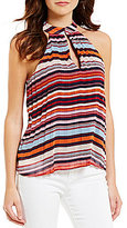 Soulmates Striped Accordion-Pleated Tank Top