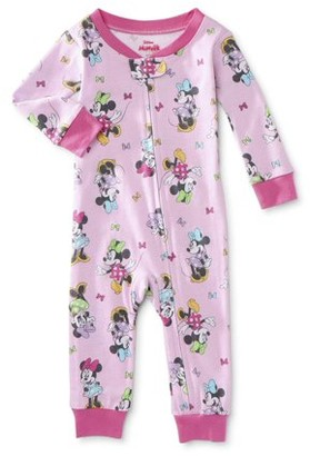 Minnie Mouse Baby Girls One-Piece Snug Fit Cotton Footless Sleeper Pajamas