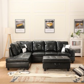 """Latitude Run Aurion 103.5"""" Faux Leather Sofa & Chaise with Ottoman Orientation: Right Hand Facing"""