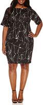 Boutique + + Short Sleeve Bodycon Dress-Plus