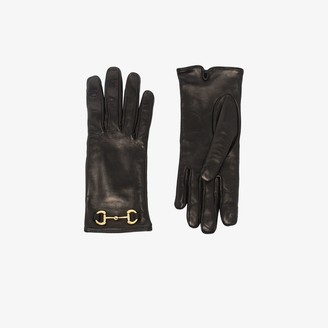 Gucci black Horsebit leather gloves