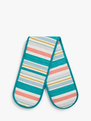 John Lewis & Partners Scandi Stripe Double Oven Glove, Blue/Multi