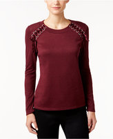 INC International Concepts Petite Velvet Lace-Up Sweater, Only at Macy's