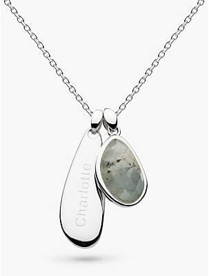 Kit Heath Personalised Sterling Silver Semi Precious Stone Coast Pebble Necklace