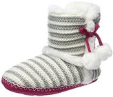 totes Women's Lurex Stripe Knit Boot Hi-Top Slippers,M 38/39 EU