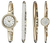 Anne Klein Women's AK/2240GBST Swarovski Crystal Accented Gold-Tone Bangle Watch and Bracelet Set