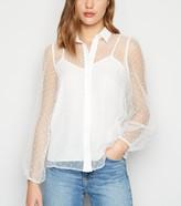 New Look Spot Mesh Puff Sleeve Shirt