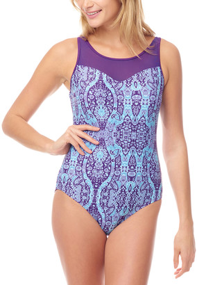 MIO Sea and Sand Women's One Piece Swimsuits - Purple Paisley Mesh-Accent One Piece - Women