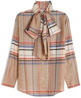 Suno Plaid Scarf Tie Shirt