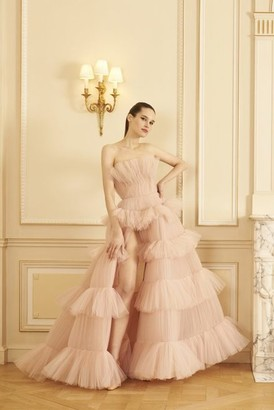 GEORGES HOBEIKA Strapless Ruffled Tulle Tiered Gown