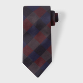Paul Smith Men's Red And Navy Check Silk Tie