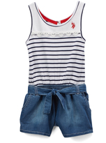 U.S. Polo Assn. Navy & White Stripe Romper - Infant & Girls
