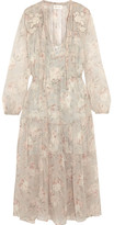 Zimmermann Garland Appliquéd Printed Crinkled Silk-chiffon Dress - Cream
