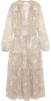 Zimmermann Garland Appliquéd Printed Crinkled Silk-chiffon Dress - Cream