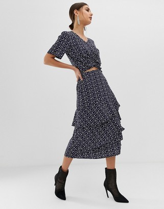 NA-KD Na Kd co-ord flower print midi frill skirt in navy