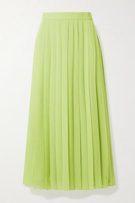 The Row Magda Pleated Chiffon Midi Skirt - Chartreuse