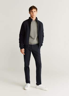 MANGO MAN - Faux shearling-lined textured jacket dark navy - S - Men