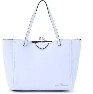 Marc Jacobs Kiss Lock Mini Tote Bag In Light Blue Grained Leather