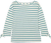 Madewell Striped Slub Cotton And Linen-blend Top - Green