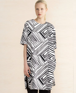 Marimekko Black & White Aleia Loose Straight Cotton Tunic Dress - M - White/Black