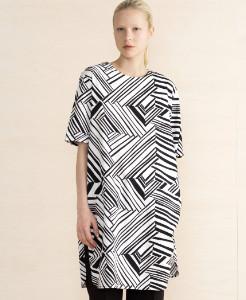 Marimekko Black & White Aleia Loose Straight Cotton Tunic Dress - S - White/Black