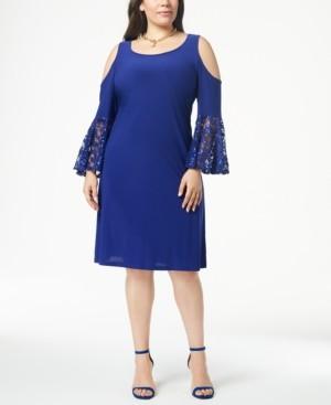 R & M Richards Plus Size Cold-Shoulder Dress