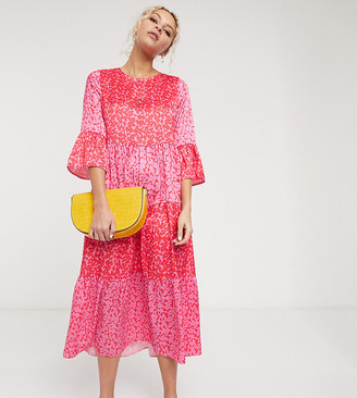 Twisted Wunder midaxi smock dress in contrast animal