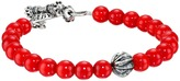 King Baby Studio 8mm Red Coral Bracelet with Silver Feather Bead