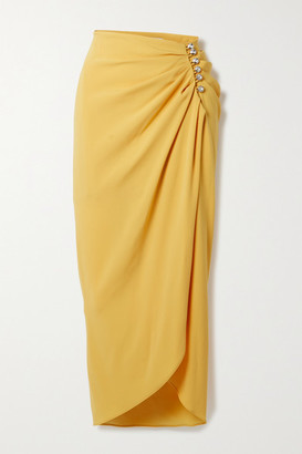 Racil Alexia Crystal-embellished Ruched Crepe De Chine Wrap Midi Skirt - Mustard