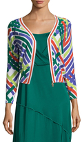 Tracy Reese Tipped Cotton Intarsia Cardigan