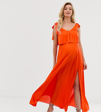 Asos DESIGN Maternity Nursing tie shoulder pleated crop top maxi dress-Orange