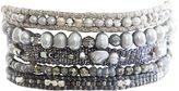 Chan Luu Grey Mix Multi Strand Pull Cord Cuff Statement Bracelet bs-5064 grey mix