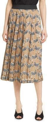 Helene Berman Zebra Lace Trim Pleated Skirt