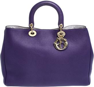 Christian Dior Purple Leather Large Diorissimo Shopper Tote