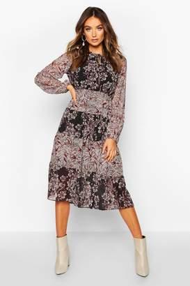 boohoo Chiffon Boho Print Midi Dress