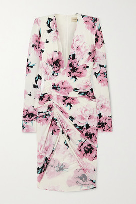 Alexandre Vauthier Ruched Floral-print Stretch-jersey Mini Dress - Pink
