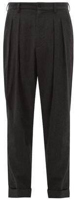 Giorgio Armani Tapered Double Pleated Virgin Wool Trousers - Mens - Dark Grey