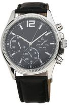 Burton Mens Black Leather Textured Strap Watch