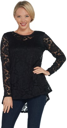 Isaac Mizrahi Live! Stretch Lace Hi-Low Hem Pleat Back Top