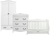 Silver Cross Silvercross Windsor Cotbed, Dresser and Wardrobe Set, Solid White