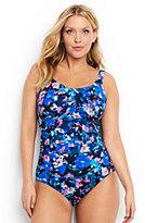 Lands' End Women's Plus Size Slender Underwire Carmela One Piece Swimsuit-Black Artistic Meadow Floral