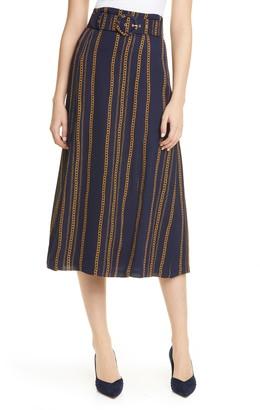Nicholas Talita Chain Print Silk Midi Skirt