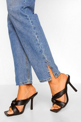 boohoo Wide Fit Padded Strap Square Toe Mules